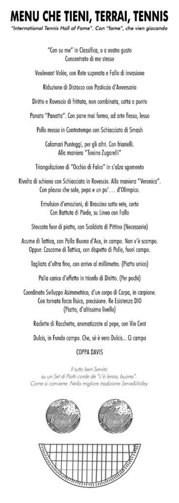 menu che tieni, terrai, tennis